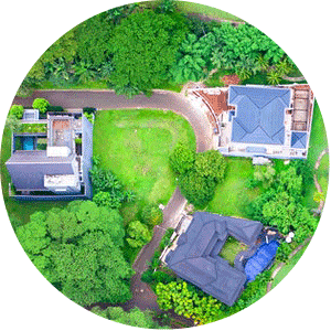 Drone image over real estate