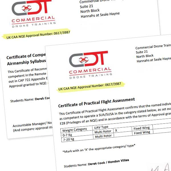 Certificates to fly drones CAA (UK)