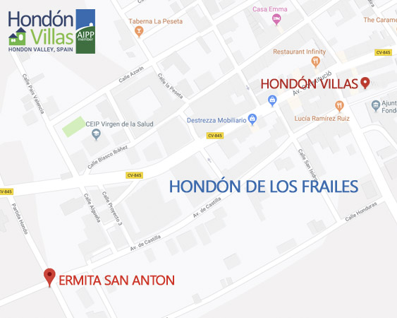 Map for Hondon Villas. Google Map, Hondon de los Frailes.
