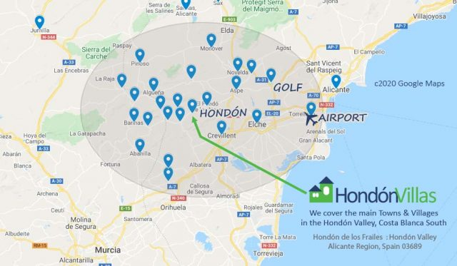 A mao fo the Hond Valey areas we cover for Spanish Property.