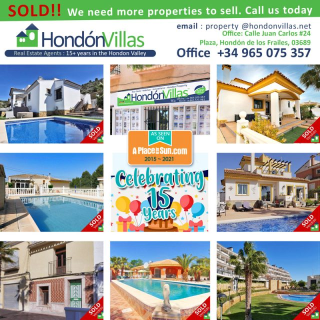 Sell your villa home in the Hondon Valley