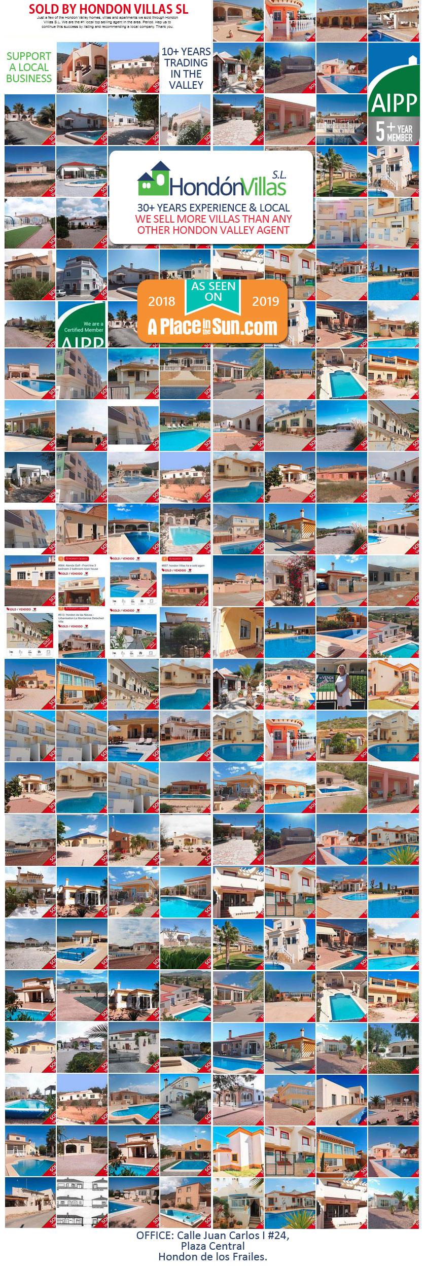 Hondon Villas property sales in the Hondón Valley, Costa Blanca Spain. Real Estate Agent / Inmobilaria