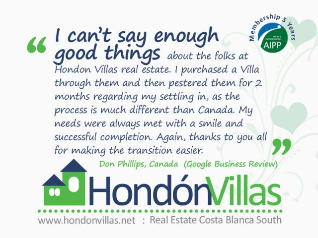 Cannot say enoughgood things about the Hondon Property services