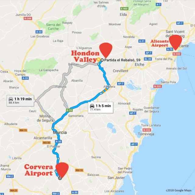 Hondon to Corvera Airport is about 1hout 5 mins by car.